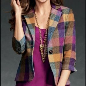 CAbi Happy plaid wool blazer.